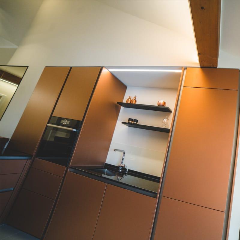 Küche Bronze Glasfront